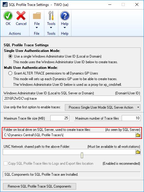 SQL Server Profile Trace Settings