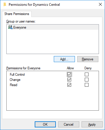 Permissions for Dynamics Central