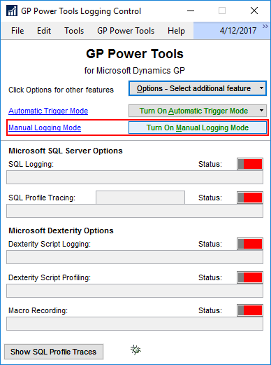 GP Power Tools Logging Control