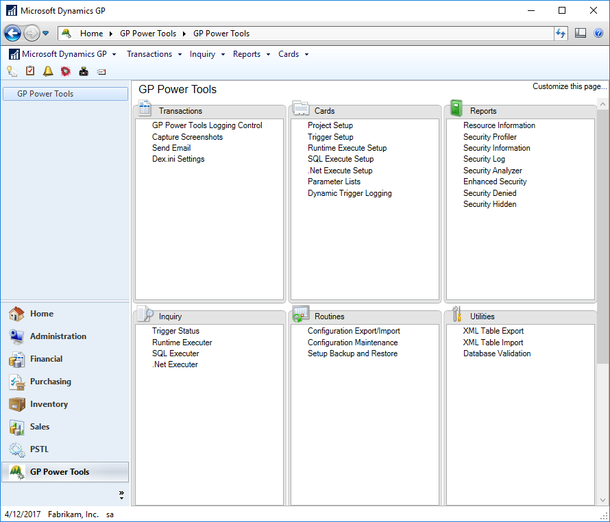 Microsoft Dynamics GP - GPPT area page