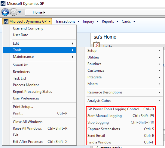 Microsoft Dynamics GP tools menu
