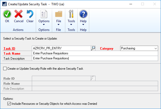Create/Update Security Task