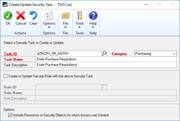 Create/Update Security Task