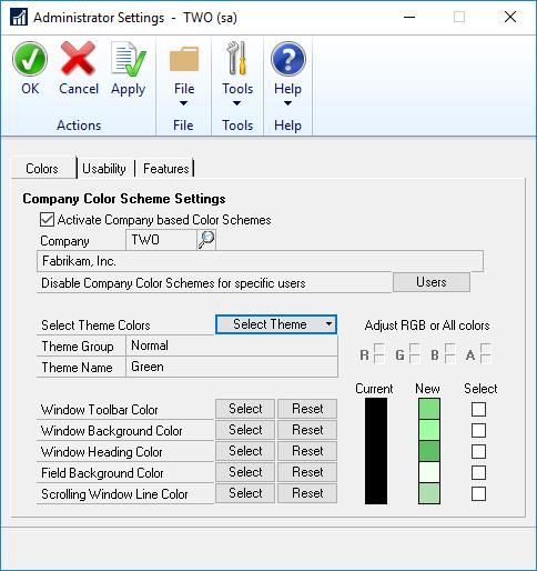 Administrator Settings - Colour tab