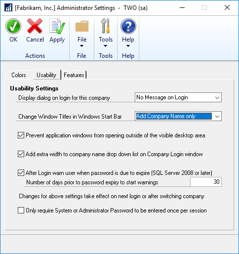 Administrator Settings - Usability