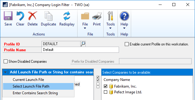 Company Login Filter - select new launch file path.