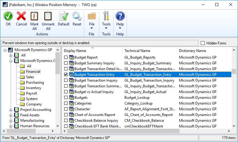 Window Position Memory - showing already selected windows