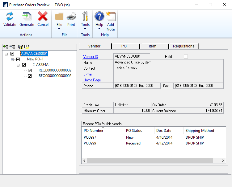 Purchase Orders Preview