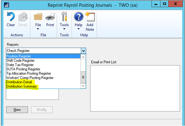 Reprint Payroll Posting Journals