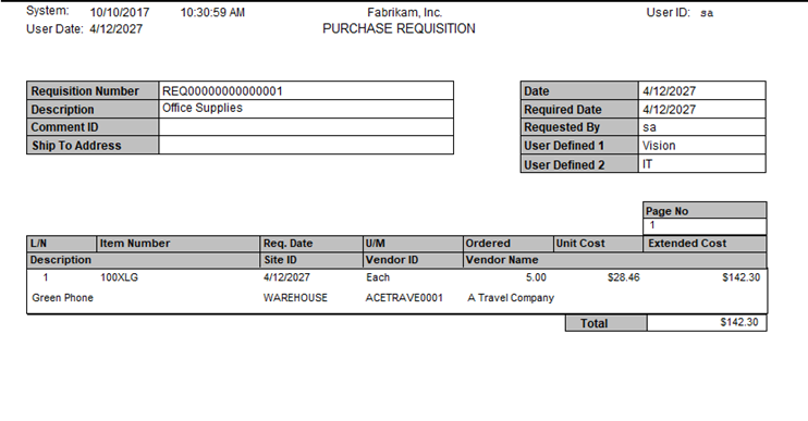 Purchase Requisition report