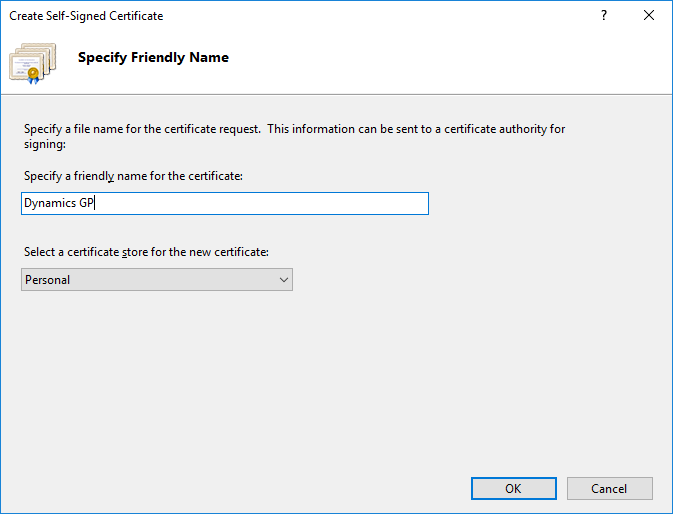 Create Self-Signed Certificate