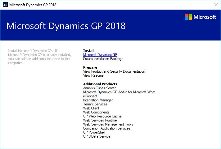 Microsoft Dynamics GP 2018