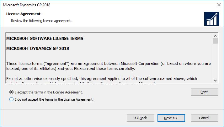 Microsoft Dynamics GP 2018: License Agreement