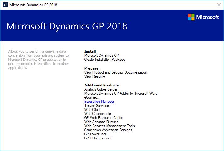 Microsoft Dynamics GP 2018 setup utility