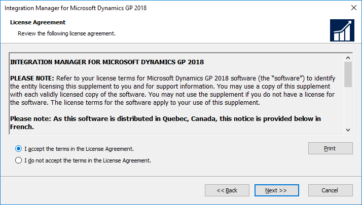 Integration Manager for Microsoft Dynamics GP 2018: License Agreement