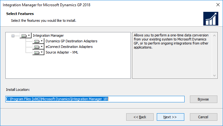 Integration Manager for Microsoft Dynamics GP 2018: Select Features