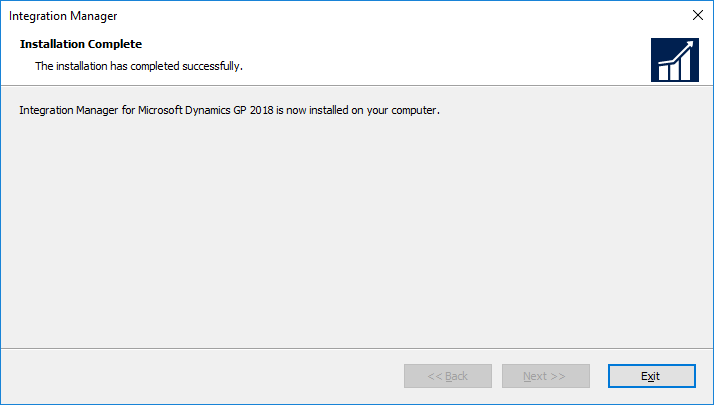 Integration Manager for Microsoft Dynamics GP 2018: Installation Complete