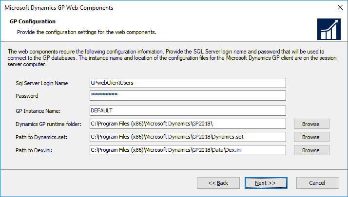 Microsoft Dynamics GP Web Components: GP Configuration