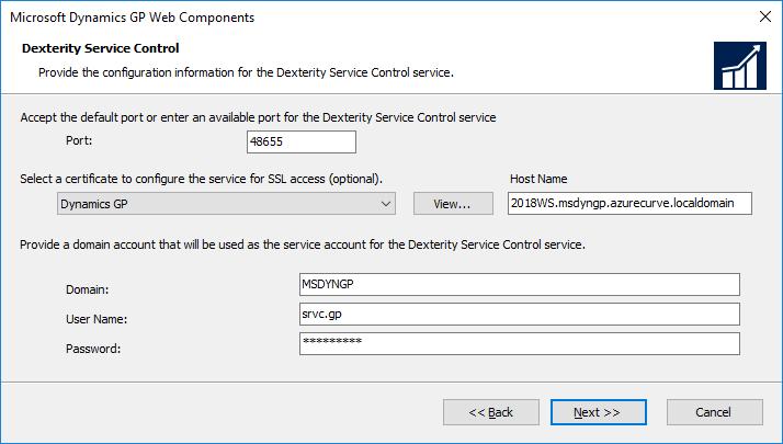 Microsoft Dynamics GP Web Components: Dexterity Service Control