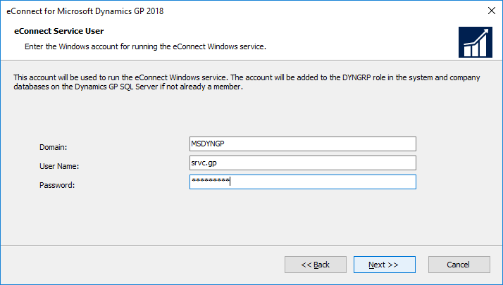 eConnect for Microsoft Dynamics GP 2018: eConnect Service User