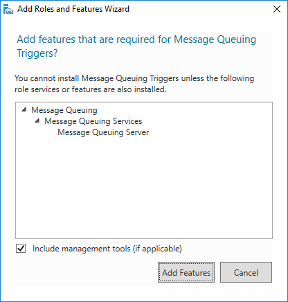 Add Roles and Features Wizard - Add features that are required for Message Queuing Triggers?