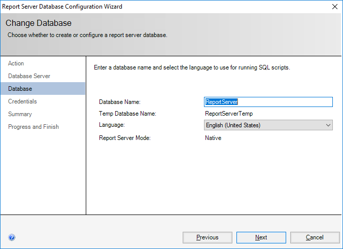 Report Server Database Configuration Wizard - Change Database - Database