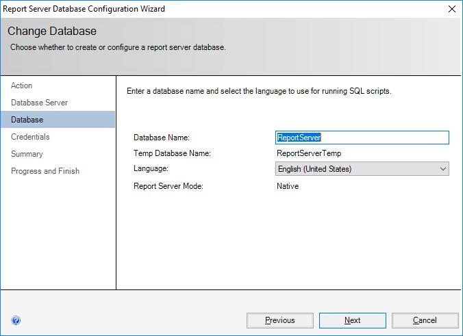Report Server Database Configuration Wizard - Change Database - Database