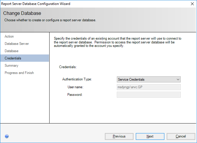 Report Server Database Configuration Wizard - Change Database - Credentials