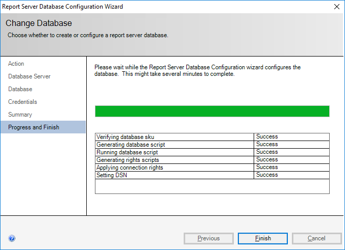 Report Server Database Configuration Wizard - Change Database - Progress and Finish