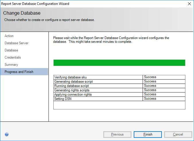 Report Server Database Configuration Wizard - Change Database - Progress and Finish