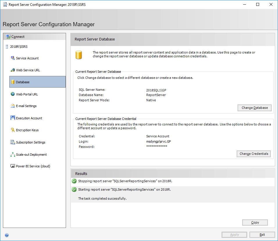 Report Server Configuration Manager: 2018\SSRS - Report Server Database