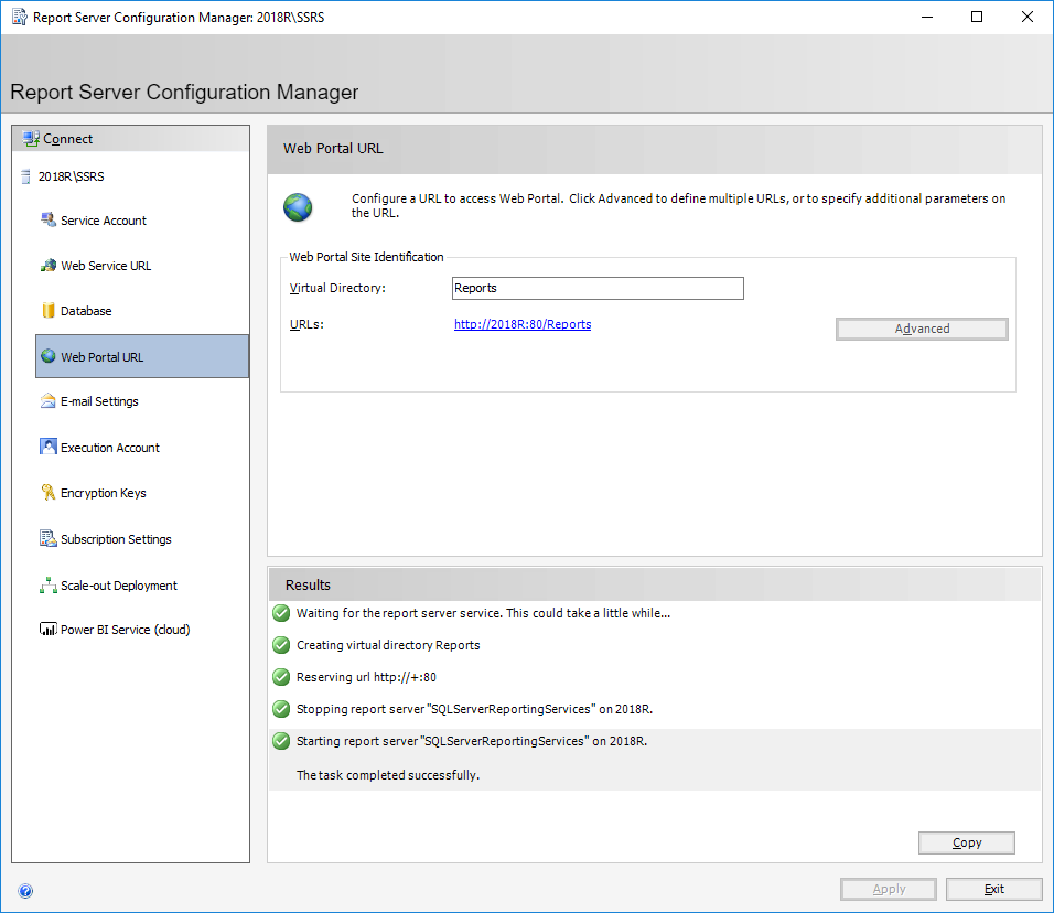 Report Server Configuration Manager: 2018\SSRS - Web Portal URL