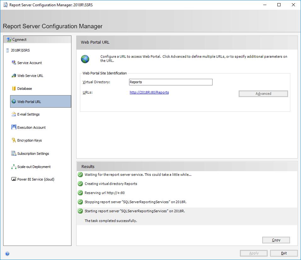 Report Server Configuration Manager: 2018SSRS - Web Portal URL
