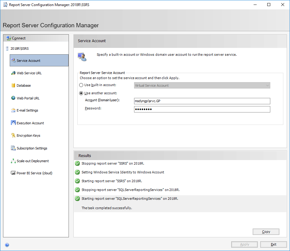 Report Server Configuration Manager: 2018\SSRS - Service Account