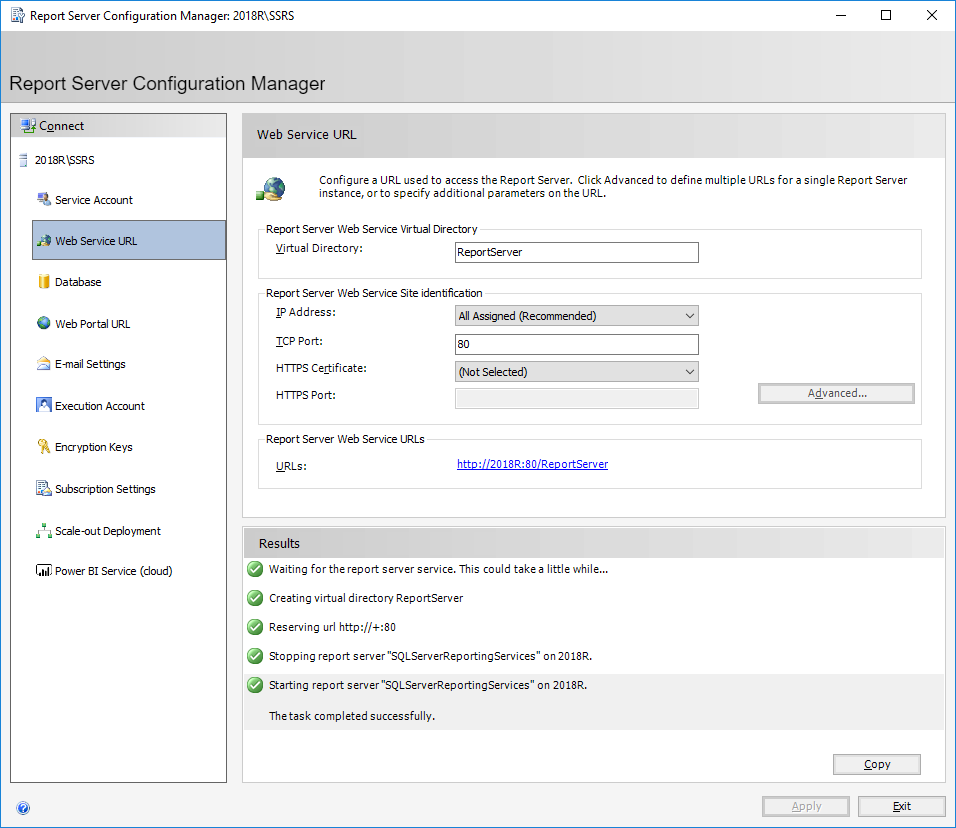Report Server Configuration Manager: 2018\SSRS - Web Service URL