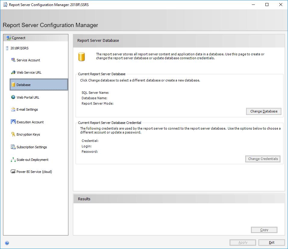 Report Server Configuration Manager: 2018SSRS - Report Server Database