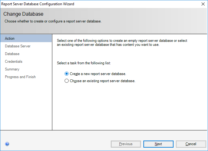 Report Server Database Configuration Wizard - Change Database - Action