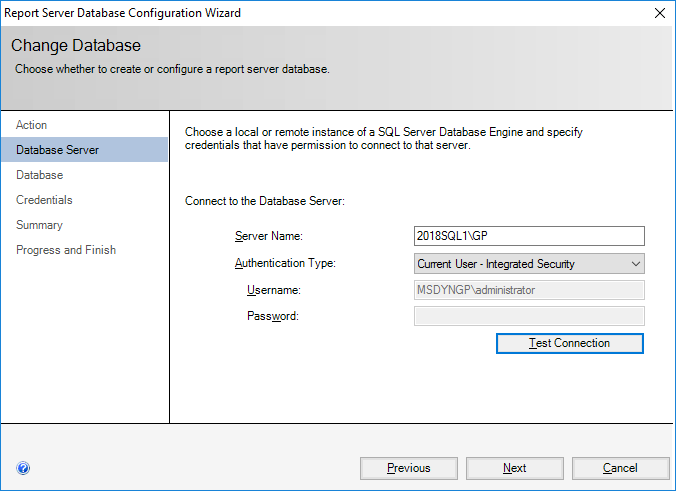 Report Server Database Configuration Wizard - Change Database - Database Server