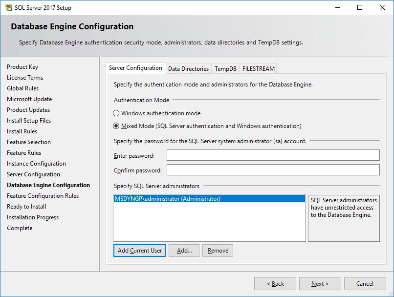 SQL Server 2017 Setup - Database Engine Configuration