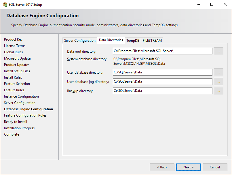 SQL Server 2017 Setup - Database Engine Configuration