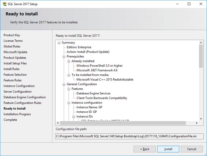 SQL Server 2017 Setup - Ready to Install