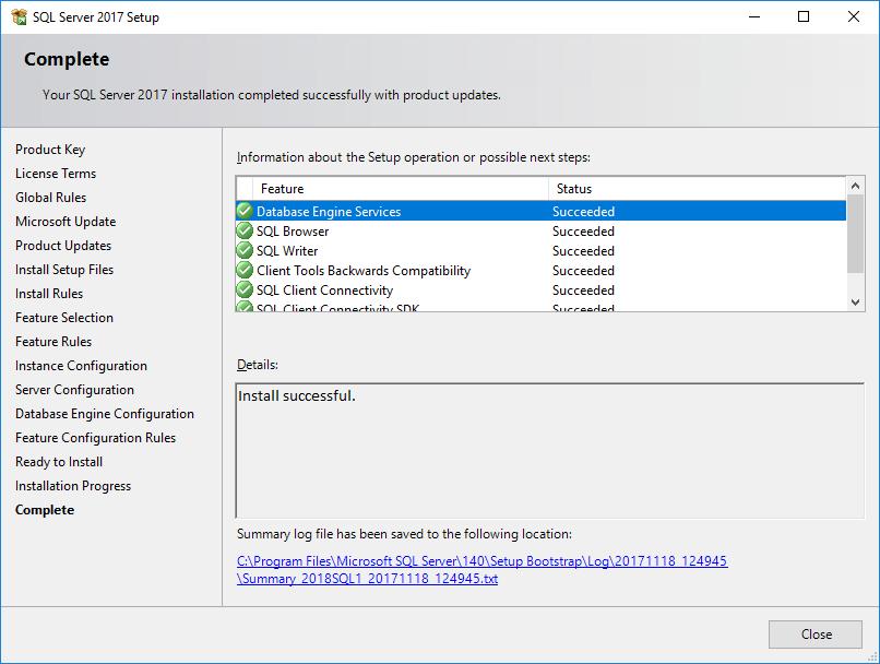 SQL Server 2017 Setup - Complete
