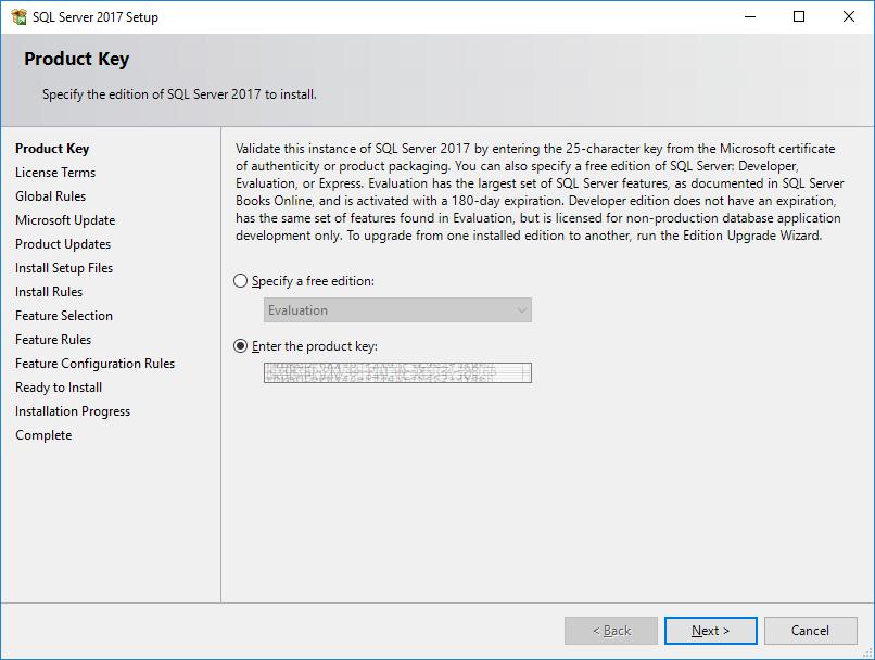 SQL Server 2017 Setup - Product Key