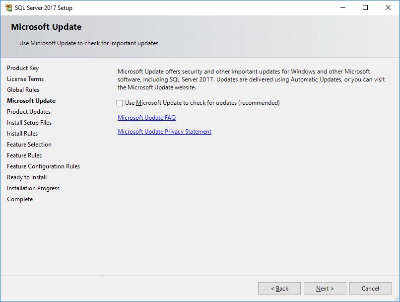 SQL Server 2017 Setup - Microsoft Update