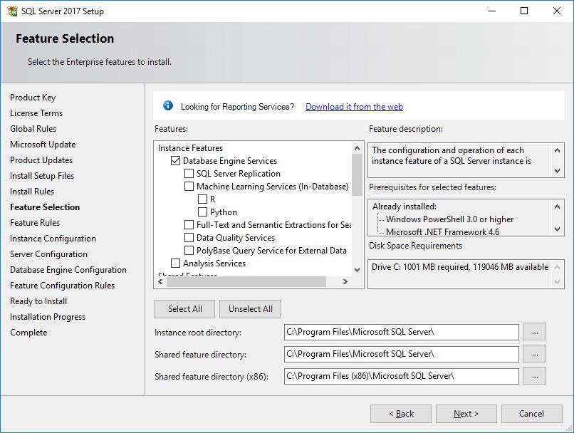 SQL Server 2017 Setup - Feature Selection