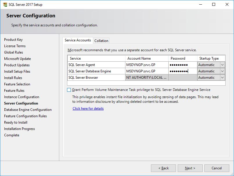 SQL Server 2017 Setup - Server Configuration