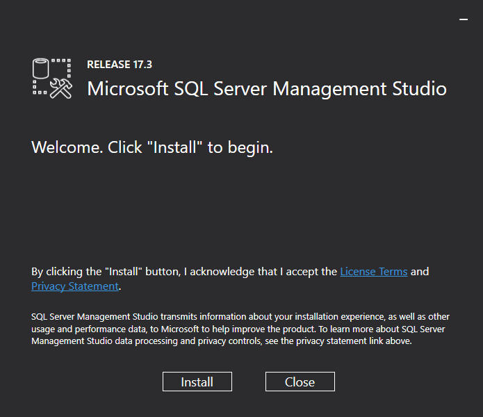 Microsoft SQL Server Management Studio - Welcome