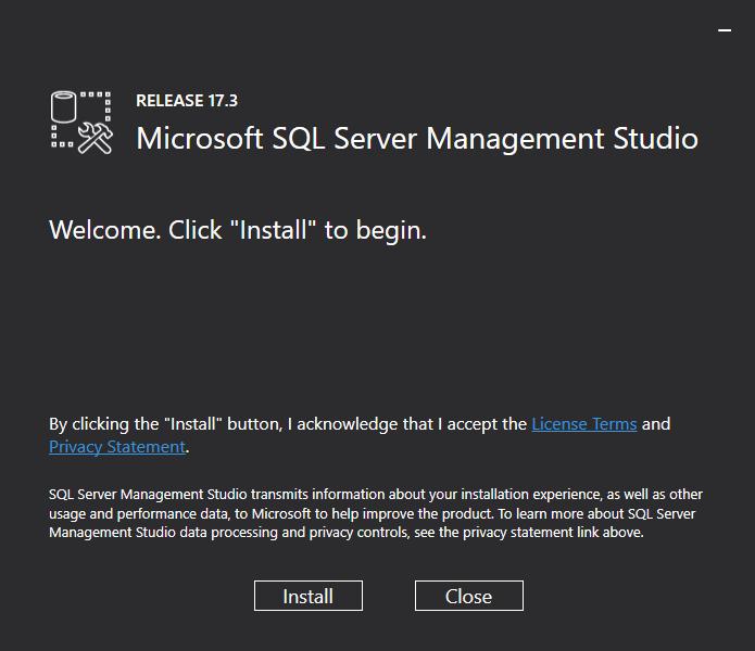 Microsoft SQL Server Management Studio - Welcome