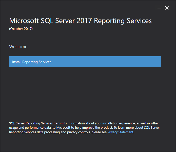 Microsoft SQL Server 2017 Reporting Services - Welcome