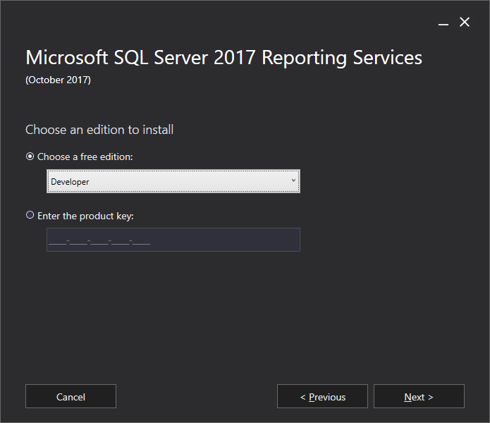 Microsoft SQL Server 2017 Reporting Services - Choose an edition to install